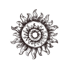 Sketch symbol of the sun. Pagan sun vector