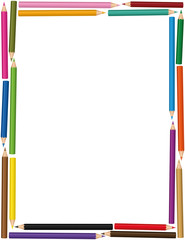 Colorful vertical crayons frame with loosely arranged color pencil set - isolated vector illustration on white background.