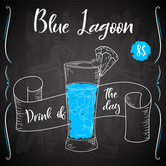 Vector dring poster. Cocktail Blue Lagoon for restaurant and cafe. Hand drawn illustration