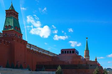 MOSCOW - October 2, 2014: Moscow Lenin mausoleum in the Kremlin. Russia. Spasskaya tower of the Kremlin.