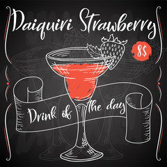 Vector dring poster. Cocktail Daiquiri Strawberry for restaurant and cafe. Hand drawn illustration