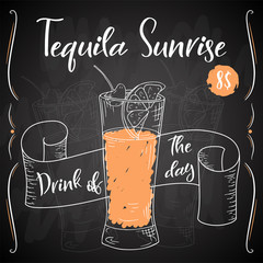 Vector dring poster. Cocktail Tequila Sunrise for restaurant and cafe. Hand drawn illustration