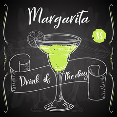 Alcoholc cocktail Margarita. Party summer poster. Vector background