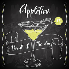 Appletini cocktail. Hand drawn drink on white background. Vector illustration