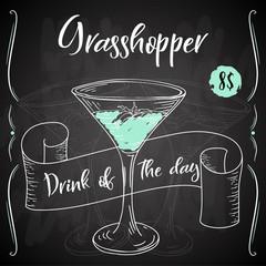 Grasshopper cocktail. Hand drawn drink on white background. Vector illustration