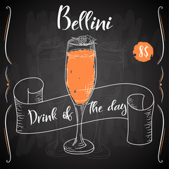 Bellini cocktail. Hand drawn drink on white background. Vector illustration