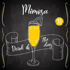Mimosa cocktail. Hand drawn drink on white background. Vector illustration