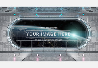 Rounded Spaceship Window Interior Mockup