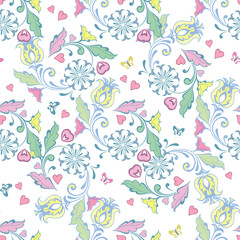 Beautiful artistic pattern with flowers and butterflies, hearts. Floral wallpaper in pastel colors. Decorative ornament backdrop for fabric, textile, wrapping paper.