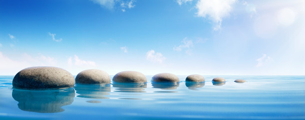 Step Stones In Blue Water - Zen Concept