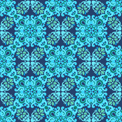 Seamless patchwork pattern tiles from Morocco, Portugal in blue colors. Decorative ornament can be used for wallpaper, backdrop, fabric, textile, wrapping paper.