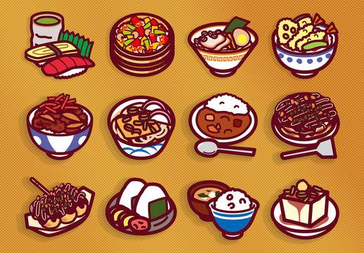食べ物アイコンのセット