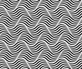 WAVE SEA SEAMLESS VECTOR PATTERN. PARALLEL STRIPED LINES. MONOCHROME TEXTURE