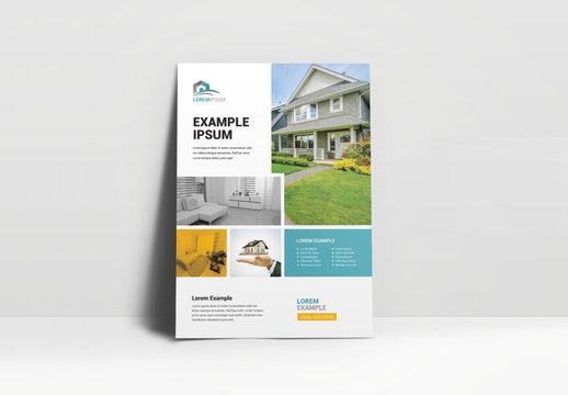 Orange and Blue Real Estate Business Flyer Layout