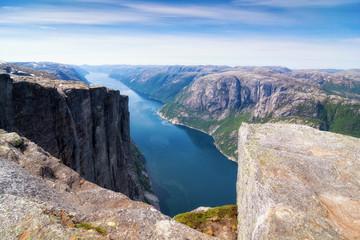 the Norwegian Lysefjord, a beautiful landscape