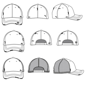 Vector template for destroyed style baseball caps