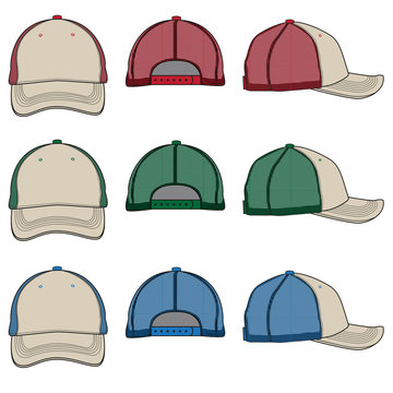 Vector template for color variations of mesh Trucker Caps