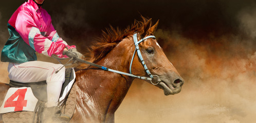 Jokey on a thoroughbred horse runs on color background