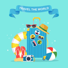Travel bag, luggage isolated on background. Suitcase with stickers, straw hat, beach ball, sandals, shoes, sunglasses, camera, lifebuoy. Summer time, vacation, tourism concept. Flat vector design