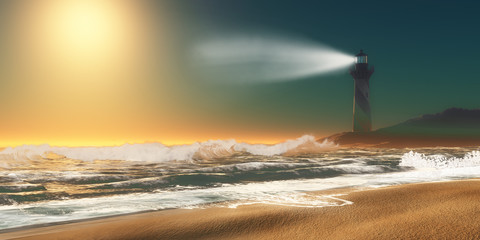 Lighthouse Beach - Twilight overtakes a seashore as a nearby lighthouse lights up the sky with a powerful beam to warn sailors.