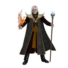Magic Wizard on White -  A magical wizard holds his golden winged pet dragon and his sorcerer staff to execute spells.