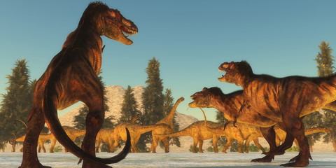Tyrannosaurus Attack - A Tyrannosaurus rex pack plans an attack on a herd of Uberabatitan dinosaurs and look for the weakest member.