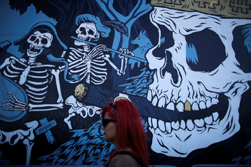 A festival-goer attends the Hellfest music Festival in Clisson