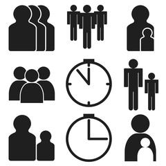 Board games icons number of players time age on white background