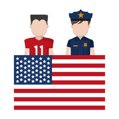 football player and policeman with uniform and usa flag