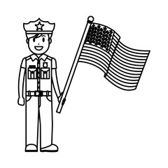line policeman with uniform and america usa flag