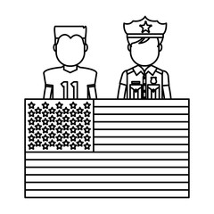 line football player and policeman with uniform and usa flag