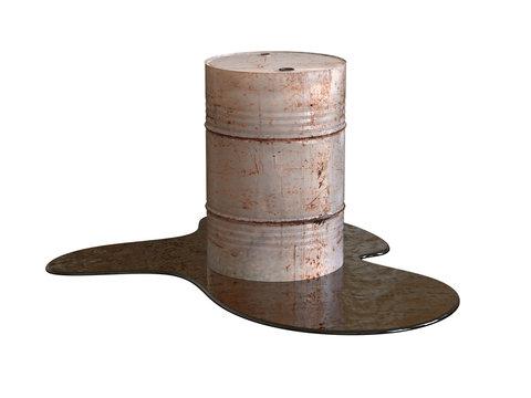 Rusted barrel in puddle waste. 3D illustration.