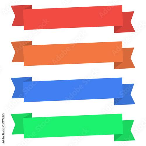 Simple Flat Ribbon Banner Illustration Blank Banner Four Color