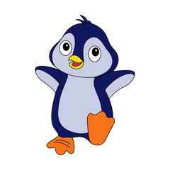 Penguin cartoon illustration isolated on white background for children color book