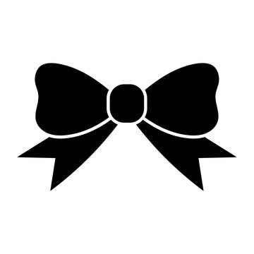 Simple, flat, black bow tie ribbon icon. Isolated on white