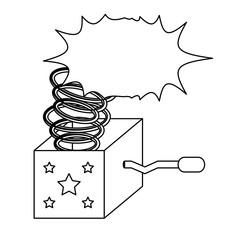 Joke box over white background, vector illustration