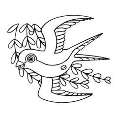 Swallow cartoon illustration isolated on white background for children color book