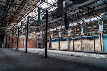 Ruins of buildings, abandoned gloomy and terrifying factory buildings
