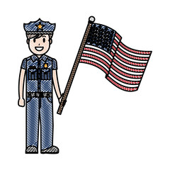 doodle policeman with uniform and america usa flag
