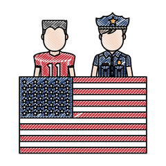 doodle football player and policeman with uniform and usa flag