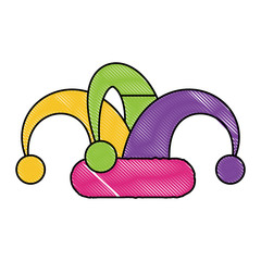 Jester hat icon over white background, colorful design. vector illustration