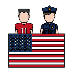 color football player and policeman with uniform and usa flag