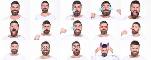 Emoji set of bearded man. Collage of emotions. Different emotions. Feeling and emotions. Face expression. Set of human emotions. Funny faces.
