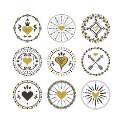 Black and golden circle hearts emblems and stamps set on white background