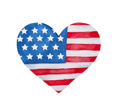Heart shaped flag of Unites States of America. Stylized patriotic emblem, holiday decoration, sign, national symbol. Handdrawn water color graphic paint on white background, isolated clip art element.