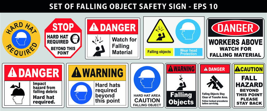 set of falling object hazard or hard hat safety sign. easy to modify
