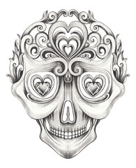 Art Vintage mix Skull Tattoo. Han pencil drawing on paper.