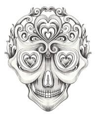 Art Vintage mix Skull Tattoo. Han pencil drawing on paper.