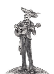 Art Skull playing Guitar Day of the dead. Hand pencil drawing on paper.
