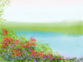 Colorful hand drawn abstract view of field with flowers on watercolor background as lake with trees, cartoon illustration of summer landscape view painted by watercolor and pastel chalk, high quality